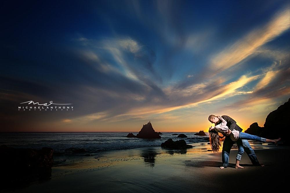 A beautiful engagement session at El Matador Beach ...