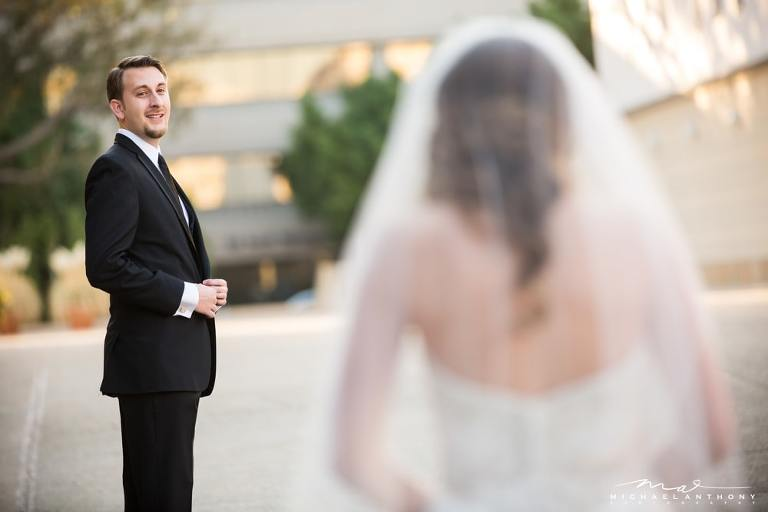 When he sees you for the first time   A First Look   LA Wedding Photographers