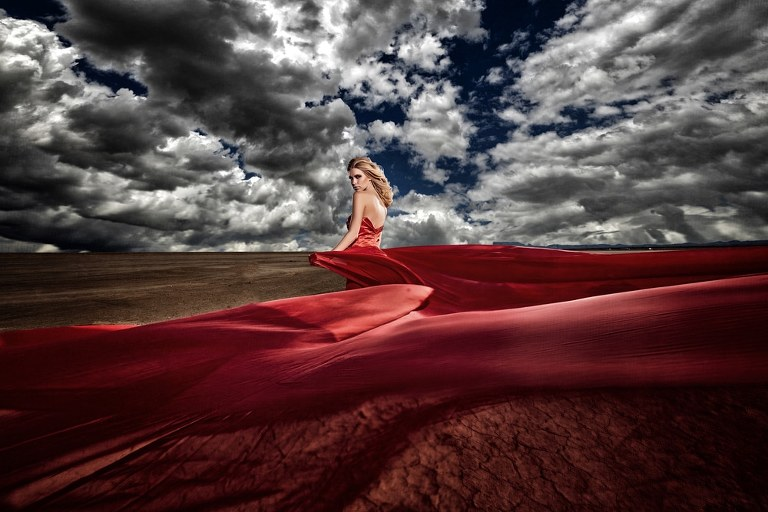 Los Angeles Fashion Bridal Session with a Red Wedding Dress | Los Angeles Wedding Photographers